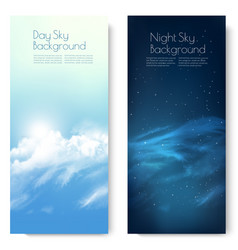 two nature contrasting sky banners - day and vector image
