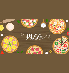 Various type of pizza such as seafood vector