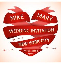 Wedding invitation in shape heart vector