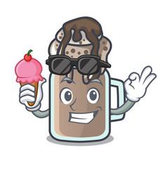With ice cream milkshake character cartoon style vector