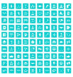 100 team icons set grunge blue vector