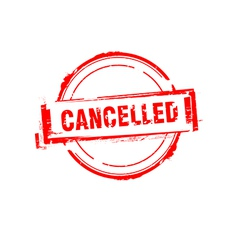 Cancelled rubber stamp on white vector