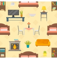 Furniture seamless pattern isolated vector image vector image