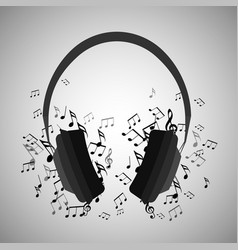 headphones with musical notes vector image vector image
