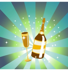 wine bottle and glass vector image vector image