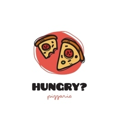 funny doodle style pizza slices logo vector image