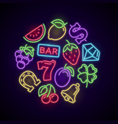 gambling casino games neon logo with slot machine vector image vector image