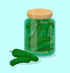 jar with pickled cucumbers flat vector image