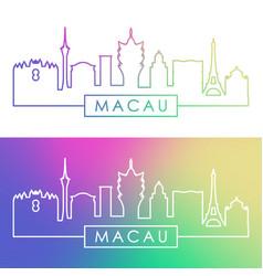 Macau skyline colorful linear style editable vector