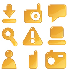 Media amber icons vector image vector image