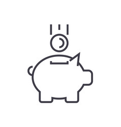 piggy bank with coin line icon sign vector image