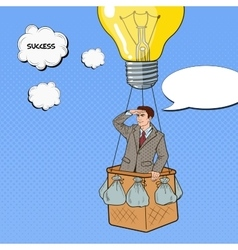 Pop Art Businessman Flying in Hot Air Balloon vector image vector image