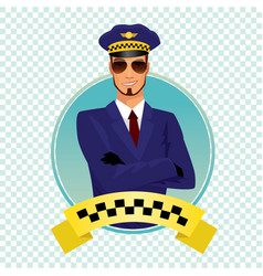 round icon with stylish shaving taxi driver vector image vector image