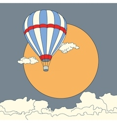 Air balloon flying in the clouds at sunset vector image vector image