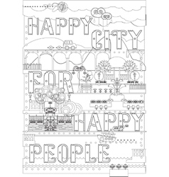 City with lettering for coloring book vector image