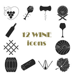 Collection of dark wine icons vector