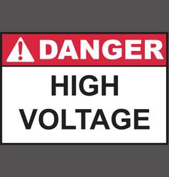 Danger High Voltage sign vector image vector image