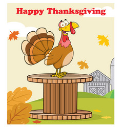 happy thanksgiving greeting with turkey bird vector image
