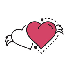 two icon hearts wings pink vector image