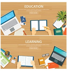 Education and learning banner flat design template vector image vector image