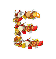 Letter e food typography sign from products vector