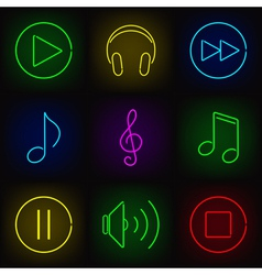 Music neon icons vector image