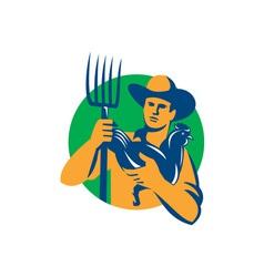 Organic Farmer Pitchfork Chicken Retro vector image vector image