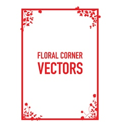 red floral corners background set vector image vector image