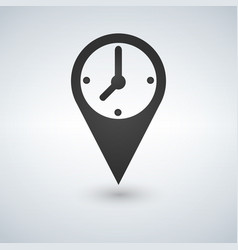 an isolated map mark with a clock icon vector image