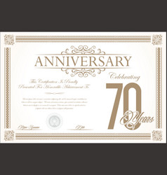 Anniversary retro vintage background 70 years vector
