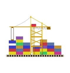 argo port container crane and colorful containers vector image