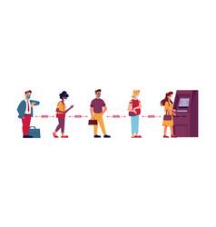 Atm queue people in social distance line covid19 vector