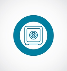 Bank safe icon bold blue circle border vector