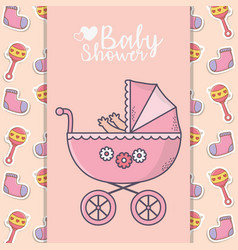 bashower pink pram with socks and rattle vector image