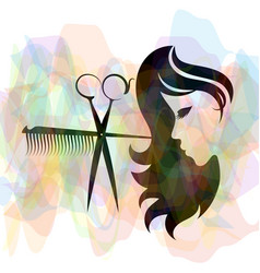Beauty salon and hairdresser silhouette vector