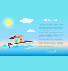 boating web poster activity in summer girls fun vector image