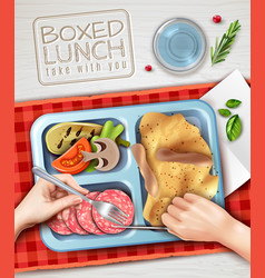 boxed lunch hands vector image