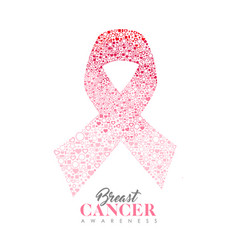 Breast cancer care card of pink ribbon icon shape vector