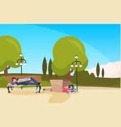 bum man woman sleeping outdoor urban park drunk vector image