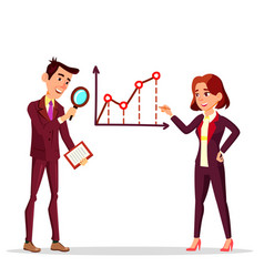 businessman and businesswoman standing near vector image