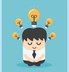 businessman doing meditation and get new idea vector image
