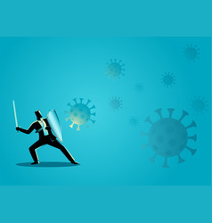 Businessman using shield and sword protecting vector