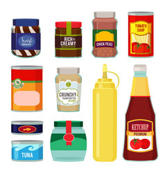 canned goods conservation of vector image