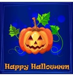 Card Happy Halloween with pumpkin vector image