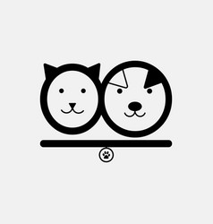 Cat and dog pet shop logo template in animal vector