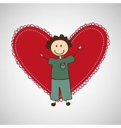 child with heart icon vector image