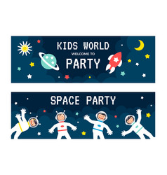 children astronauts card set vector image