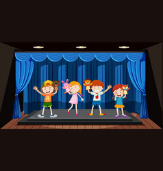 Children play hand puppet on stage vector