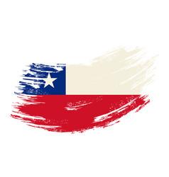 chilean flag grunge brush background vector image