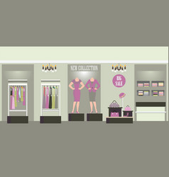 clothing interior shop with products on shelves vector image